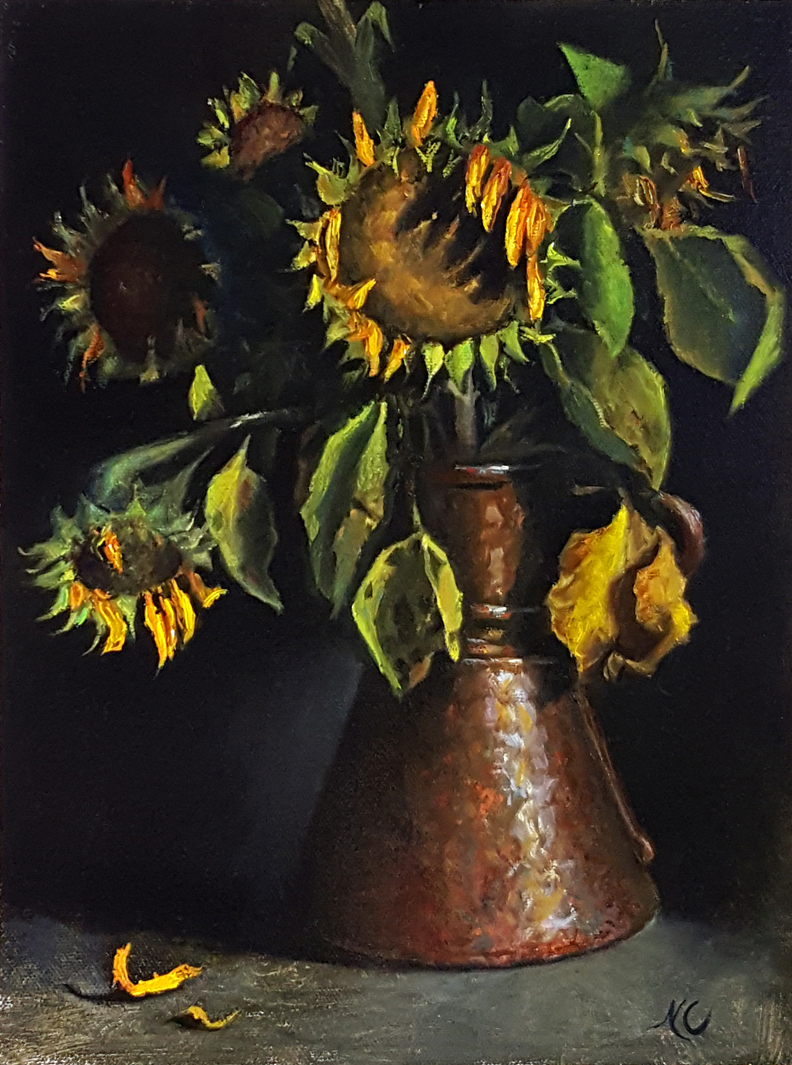 STILL LIFE WITH SUNFLOWERS IN A RUSTY POT