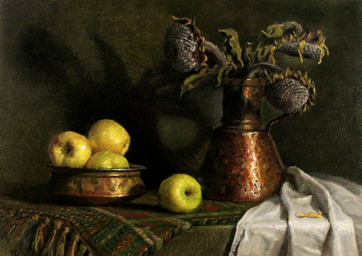 STILL LIFE WITH APPLES AND DRY SUNFLOWERS