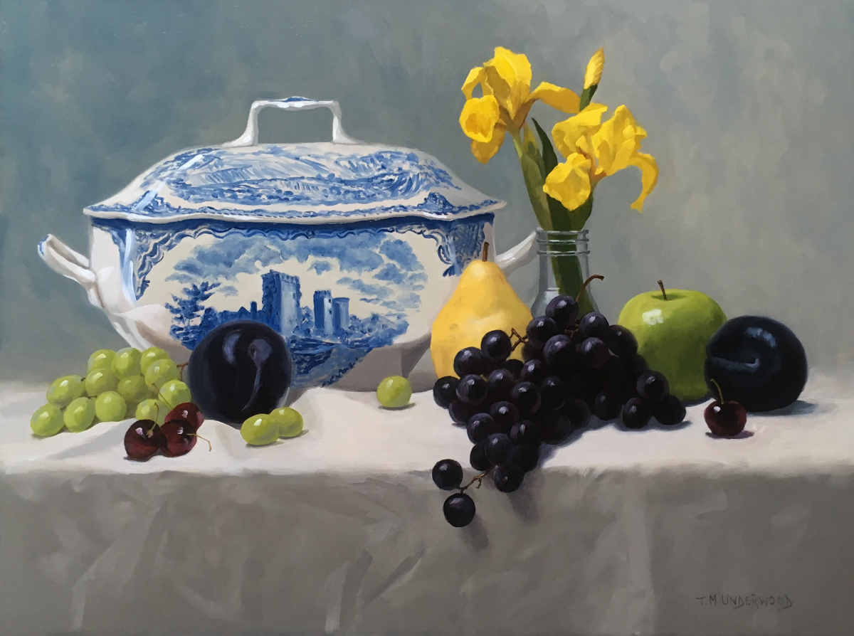Tureen with Iris and Fruit