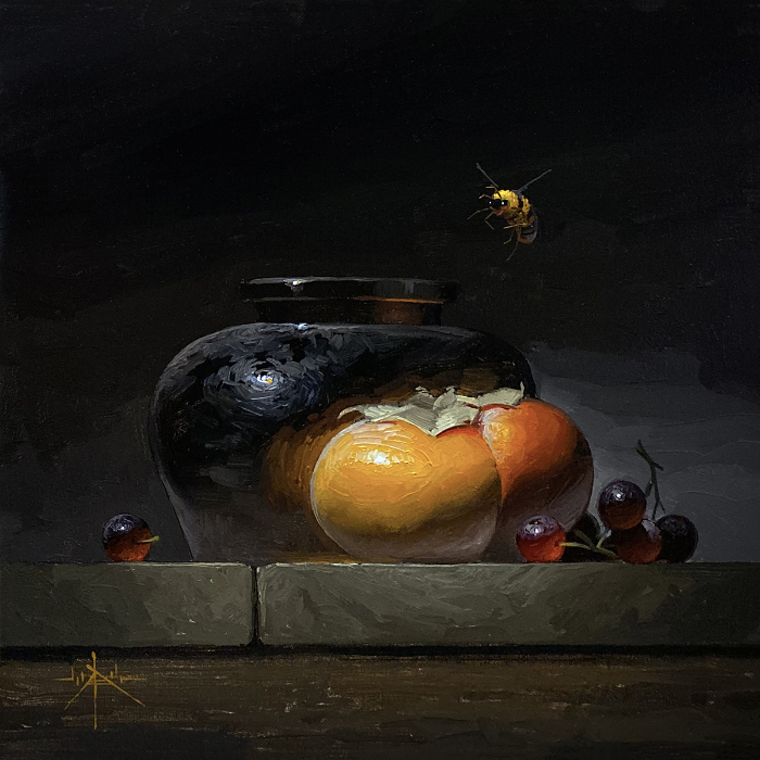 Persimmon with Dark Vessel