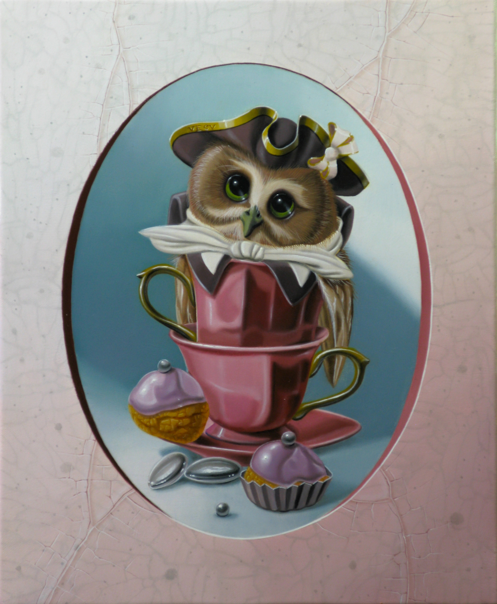 Owl with Two Teacups