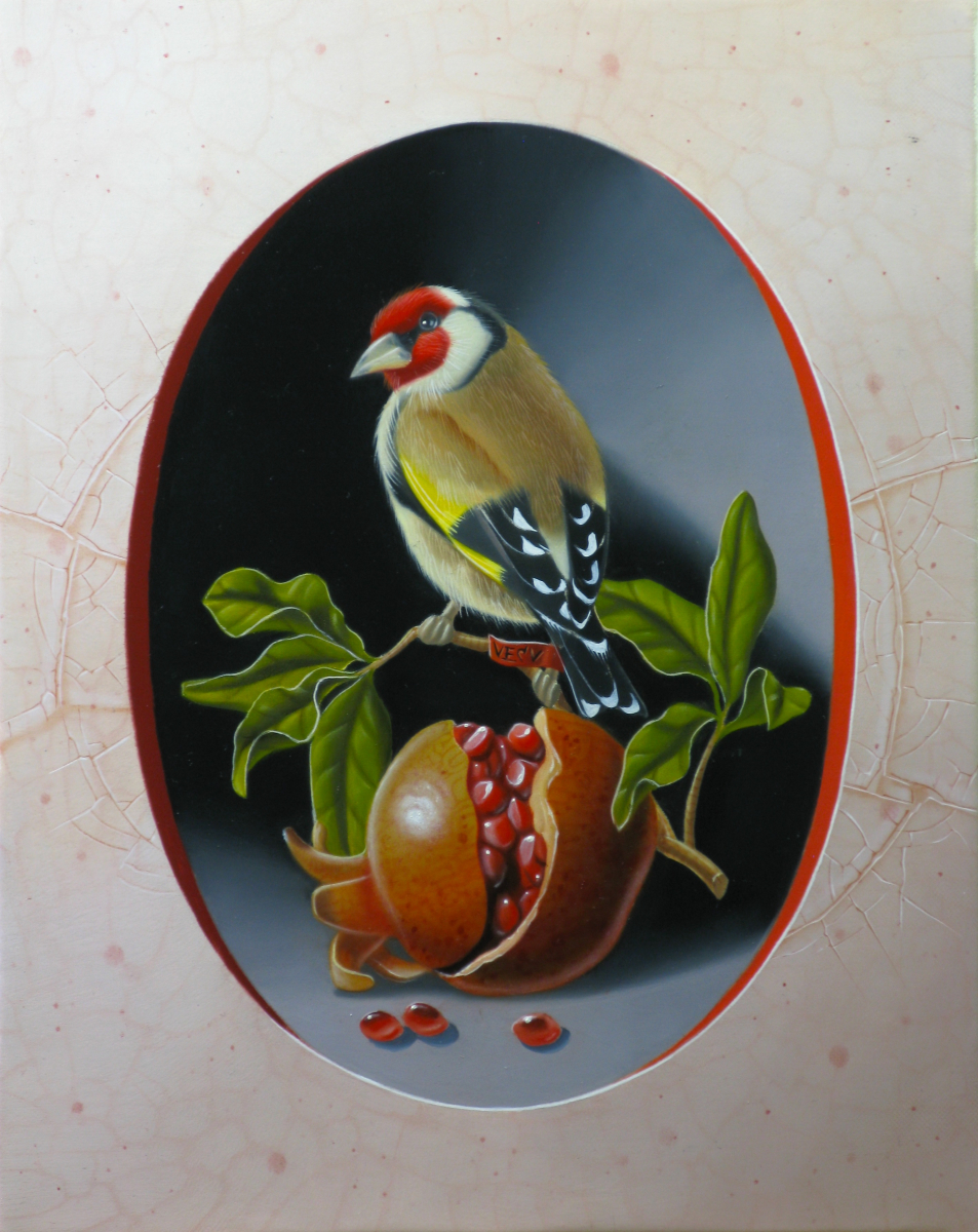 Goldfinch with Pomegranate I