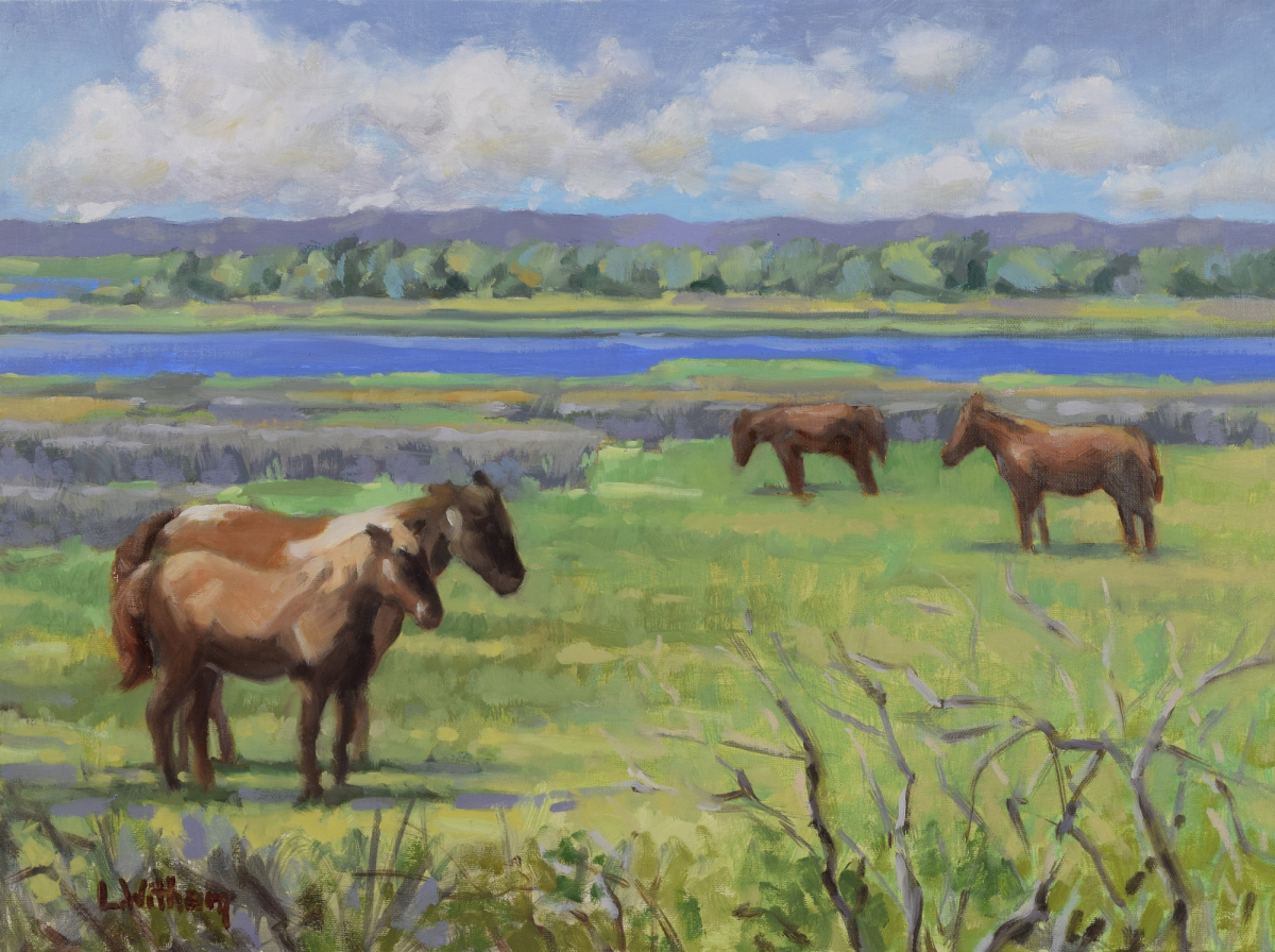 Assateague Wild Ponies, Oil on linen panel, 12x16