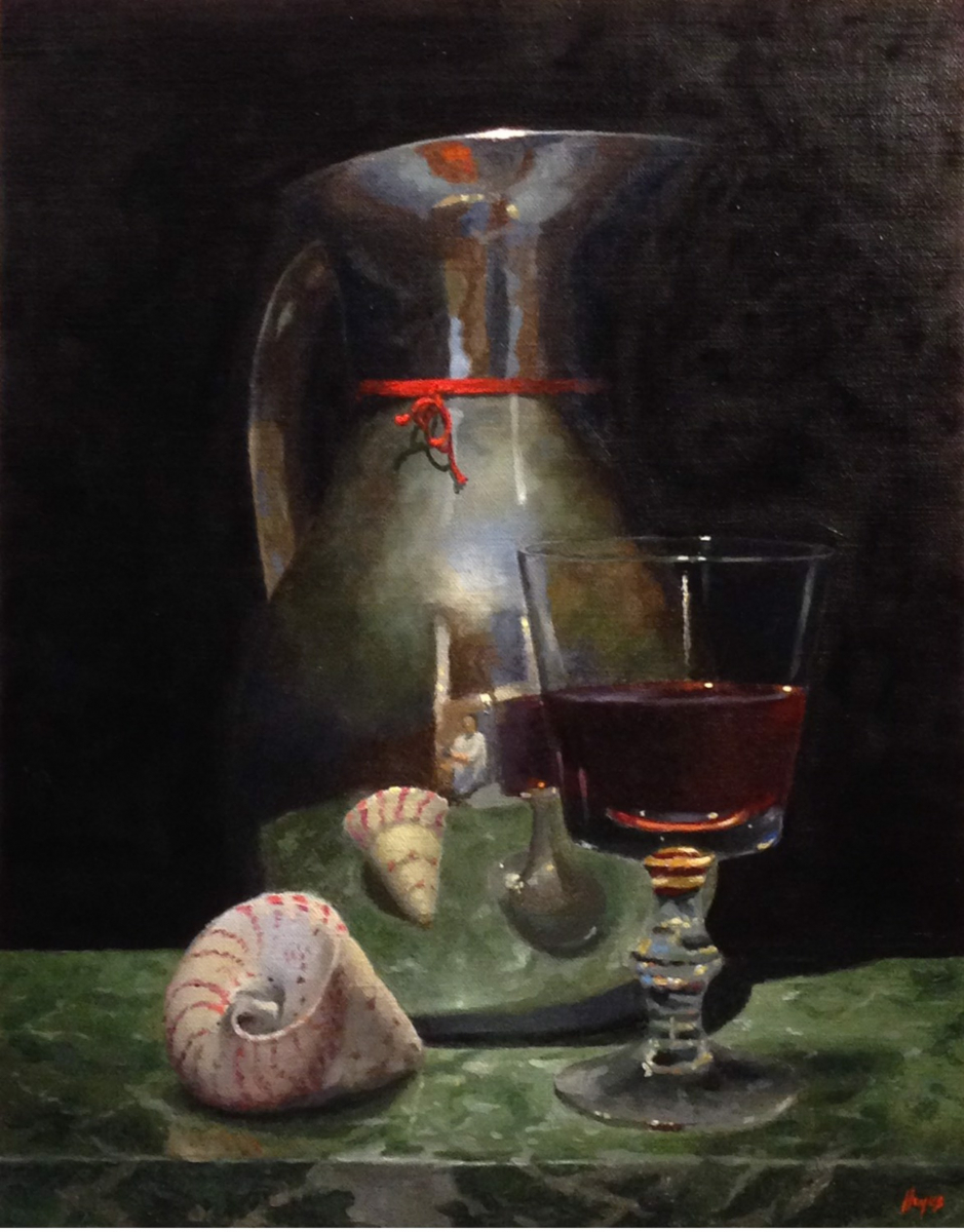 Silver Pitcher, Red Wine, Shell